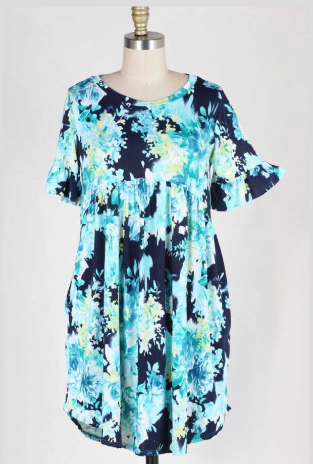 PSS-P {In Your Hands} Navy/Aqua Floral Babydoll Tunic Dress