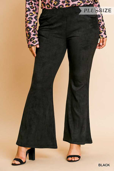 "BT-O {Could Be Yours} ""UMGEE"" Black Suede Wide Leg Pants PLUS SIZE"