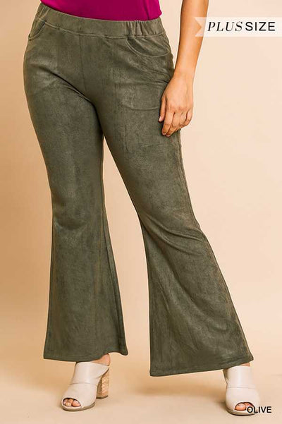 "BT-C {Could Be Yours} ""UMGEE"" Olive Suede Wide Leg Pants PLUS SIZE"