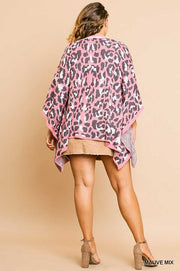 "OT-M {Hopes Are High} ""UMGEE"" Pink Leopard Knit Kimono"