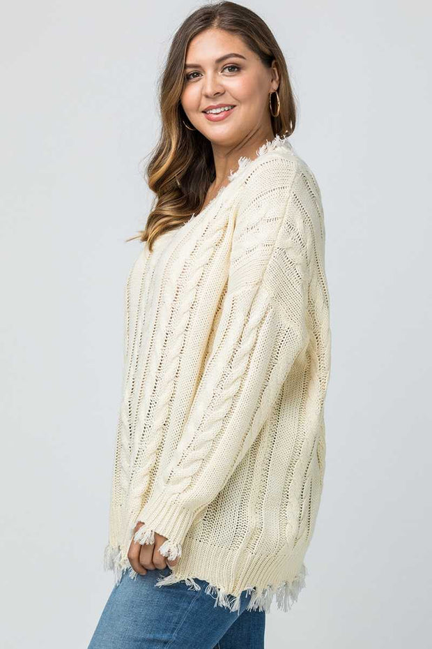 SLS-C {Make An Appearance} Cream Frayed Sweater SALE!!