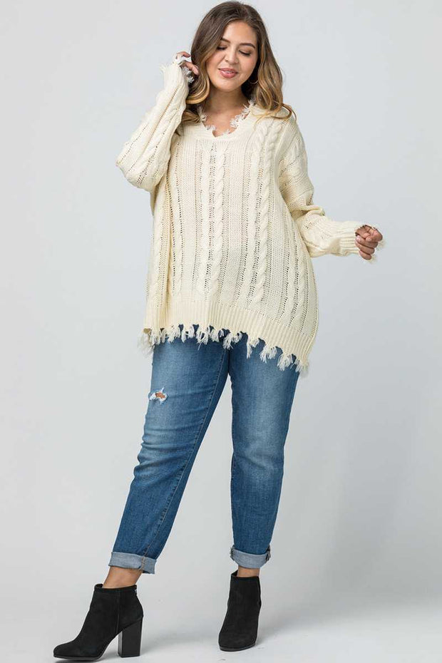 SLS-C {Make An Appearance} Cream Frayed Sweater