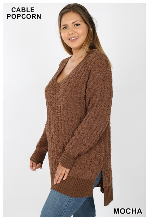 SLS-Q {My Best Life} Mocha Cable Popcorn V-Neck Sweater  SALE!!