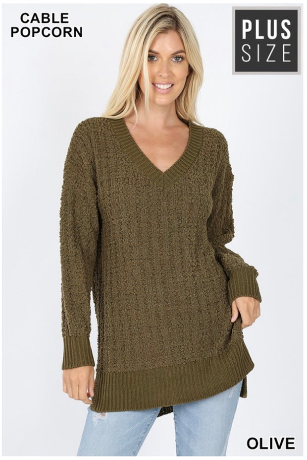 SLS-S {My Best Life} Olive Cable Popcorn V-Neck Sweater  SALE!!