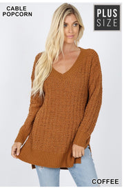SLS-D {My Best Life}  SALE!! Coffee Cable Popcorn V-Neck Sweater  SALE!!