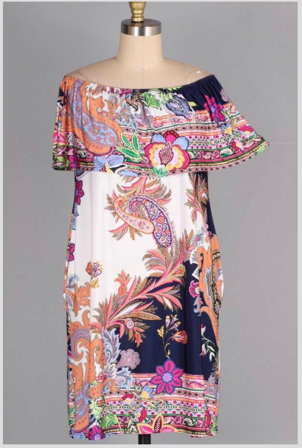 OS-T {Search Is Over} Paisley Floral Print Off-Shoulder Dress SALE!
