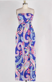 LD-D {Endless Summer} Blue Paisley Print Strapless Maxi Dress  SALE!!