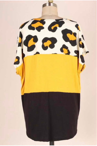 CP-B {Just Maybe} Mustard/Black Leopard Contrast Top