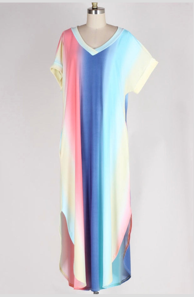 LD-P {Pastel Sunset} Vertical Tie-Dye Maxi Dress Extended Plus