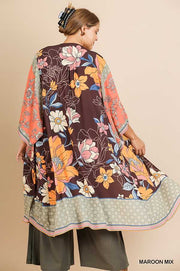 41 OT-D [Flower Power} Brown Coral Floral Cardigan PLUS SIZE XL 1X 2X