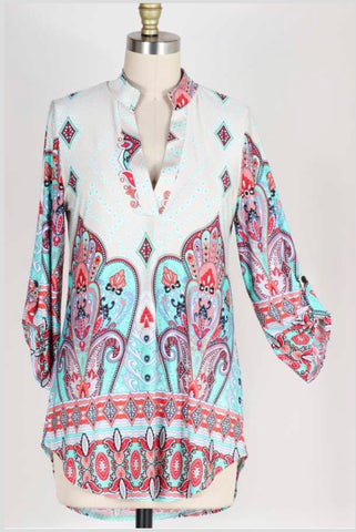 PQ-H {Everybody Wins} Paisley Print Top with V-Neck Collar Extended Plus