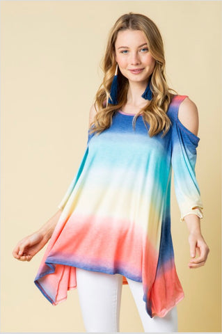 OS-D {My Favorite} Rainbow Asymmetrical Cold-Shoulder Top