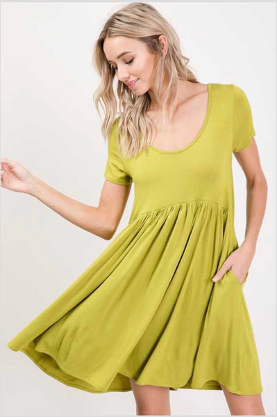 SSS-N {Full Swing} Kiwi Babydoll Dress with Side Pockets
