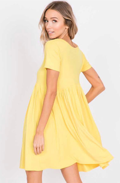 SSS-G {Full Swing} Yellow Babydoll Dress with Side Pockets
