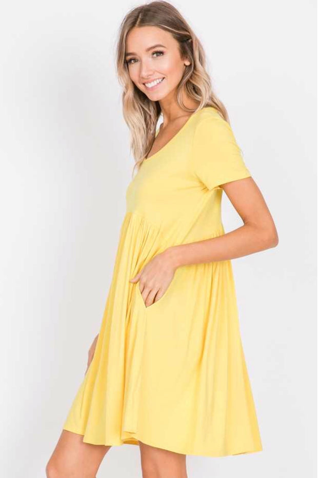SSS-G {Full Swing} Yellow Babydoll Dress with Side Pockets FLASH SALE!!