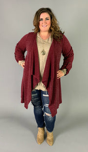 OT-K {Walk In The Park} Burgundy Cardigan with Roll-Tab Sleeves