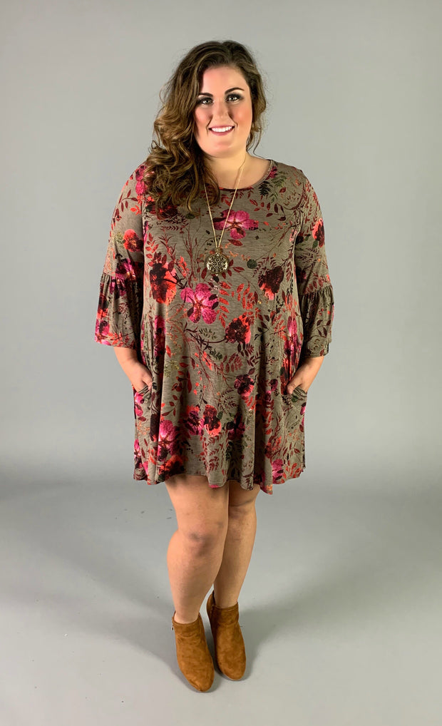 PQ-B {Look Of Love} Taupe Floral Dress with Bell Sleeves