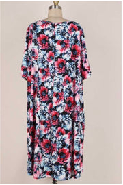 62 PSS-Z {My Only Chance} Navy/Pink Floral Print Dress EXTENDED PLUS SIZE 3X 4X 5X