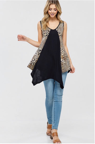 SV-O {Be Legendary} Black/Leopard Top Sleeveless