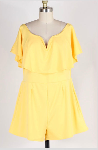 RP-M {Pure Coincidence} Yellow Romper with Pockets