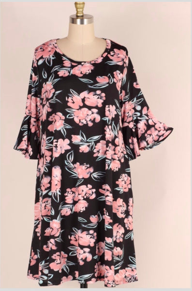PQ-Y {Enjoy Your Life} Black Floral Dress with Ruffle Bell Sleeves Extended Plus