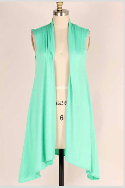 OT-C {Life Goes On} MINT Asymmetrical Vest with Pockets