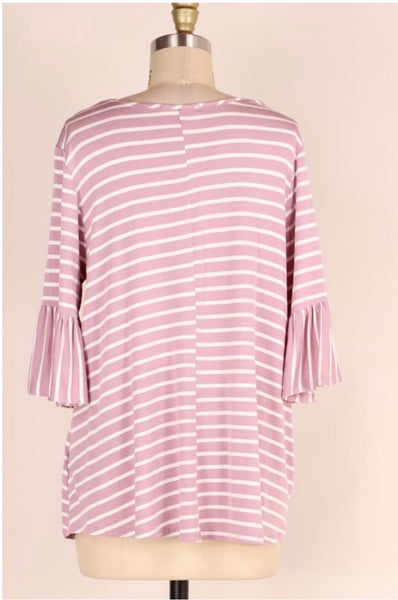 PQ-Z {Count Me In} Plum Striped Top with Cage Neck Detail Extended Plus