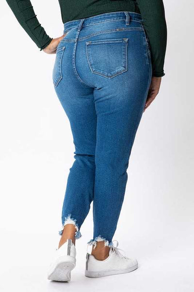 BT-C (From This Moment) Kancan  Jeans W/ Frayed Bottom PLUS SIZE 1X 2X 3X