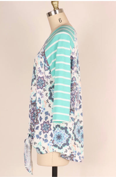 CP-X {Rule The World} Mint Mandala Tie-Front Contrast Top Extended Plus