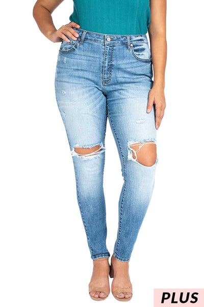 BT-S ( Try Again) Kancan Light Denim Jeans W/ Distress PLUS SIZE 1X 2X 3X