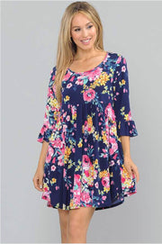 PQ-N {Just Amazing} Navy Floral Print Babydoll Tunic Dress Extended Plus