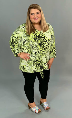 PQ-Q {City Lights} Lime/Leopard Tie-Front Top Elastic Sleeves