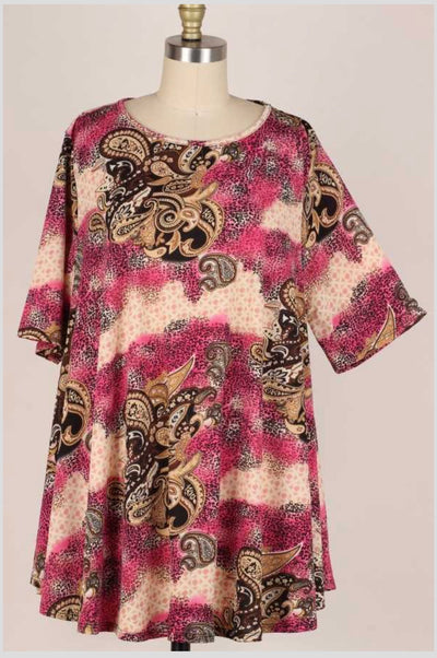 62 PSS-V {Simply Dainty} Pink Paisley Leopard Top EXTENDED PLUS SIZE 3X 4X 5X