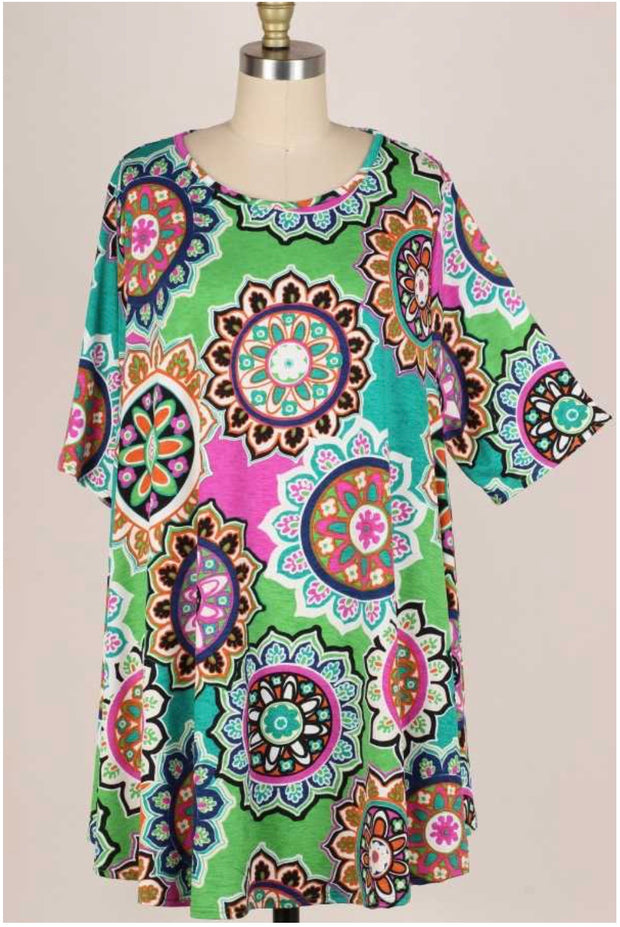 62 PSS-G {Counting On You} Green Mandala Print Top EXTENDED PLUS SIZE 3X 4X 5X