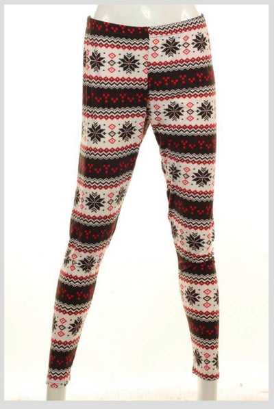 LG-K {A Winter's Tale} Red/Black Snowflake Print Leggings SALE!!