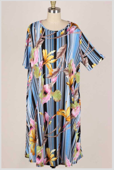 62 LD-L {Going Off Script} Floral Blue Striped Dress EXTENDED PLUS SIZE 3X 4X 5X