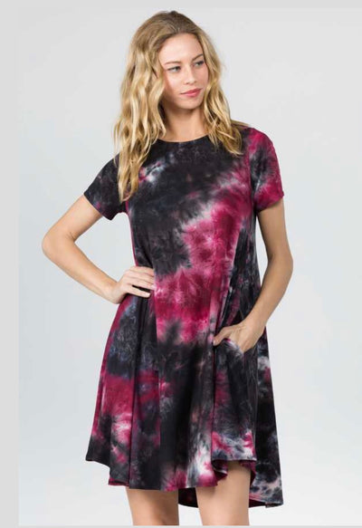 PSS-T {Talk About Love} Burgundy Tie-Dye Print Dress with Pockets Extended Plus