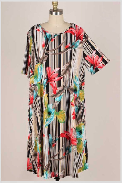 62 PSS-K {Magic Meadows} Floral Vanilla Striped Dress EXTENDED PLUS SIZE 3X 4X 5X