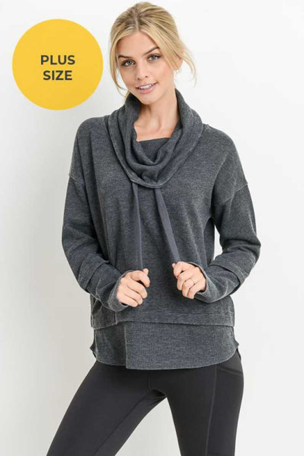 SLS-B {State Of Mind} Charcoal Sweatshirt with Cowl Neck SALE!!