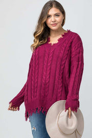 SLS-T {Time Well Spent} WINE V-Neck Frayed Sweater SALE!!!
