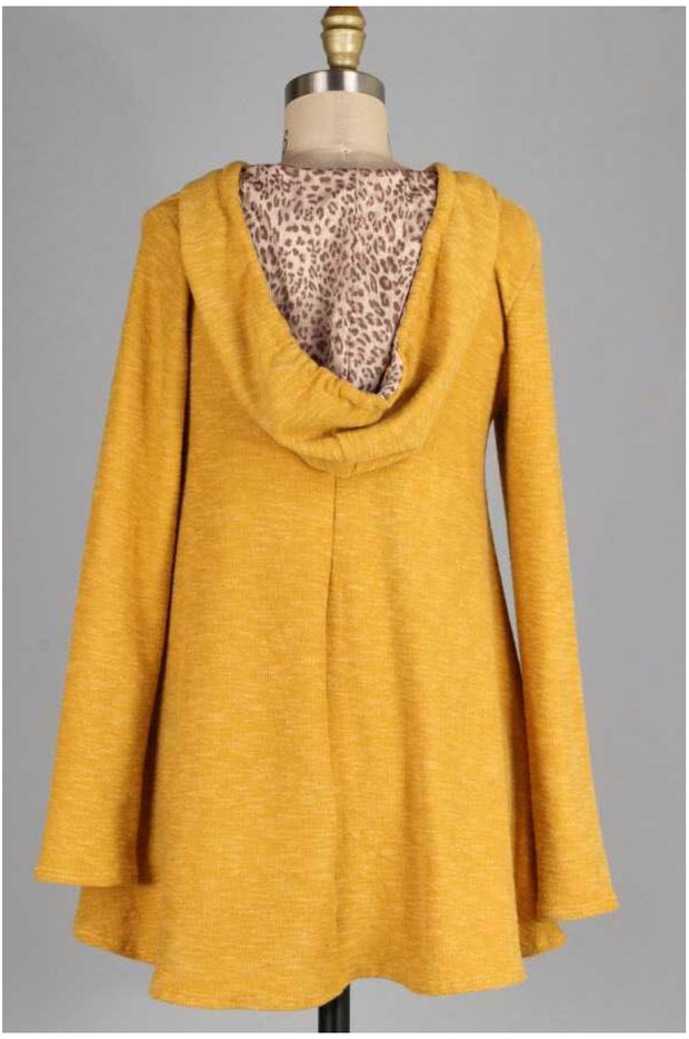 HD-M {Weekend Retreat} Mustard Knit Tunic with Hood Extended Plus