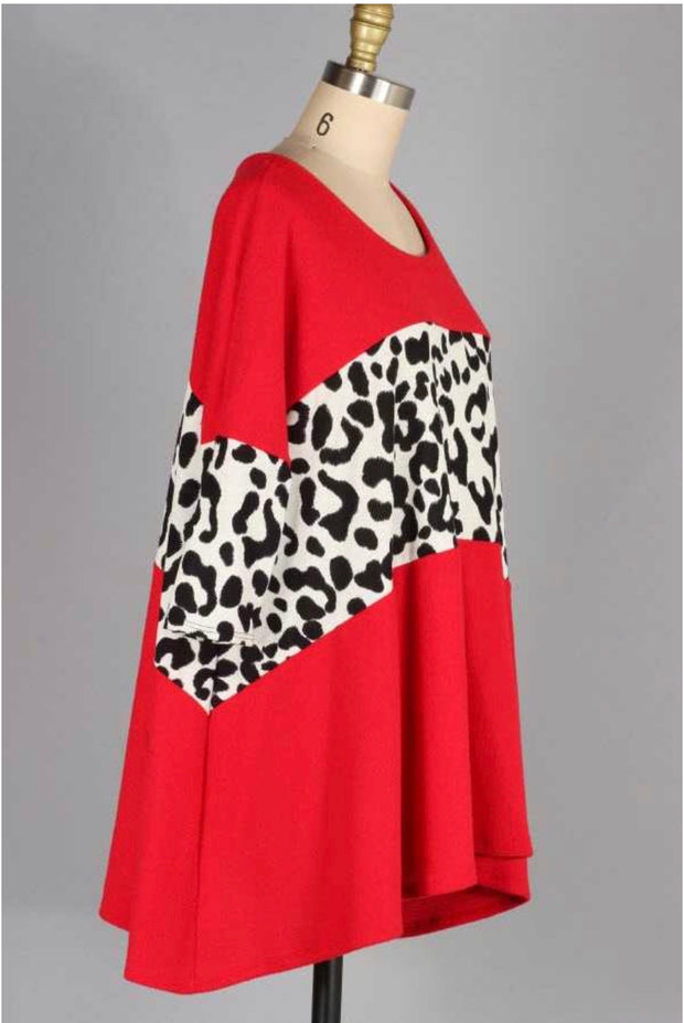 CP-D {Lost Without You} Red Knit Top with Cheetah Contrast
