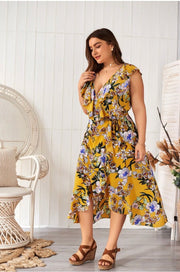 LD-B {Far Away} Mustard Floral Print Wrap Dress Extended Plus SALE!!