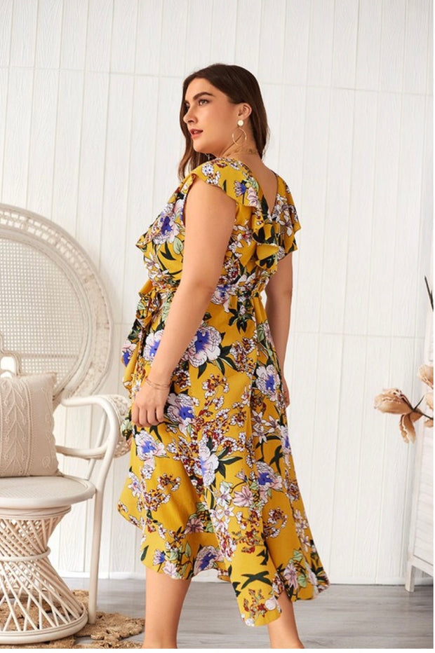 LD-B {Far Away} Mustard Floral Print Wrap Dress Extended Plus