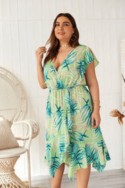 LD-M {Days Of Summer} Mint Tropical Print Hi-Lo Dress EXTENDED PLUS SIZE 3X SALE!!