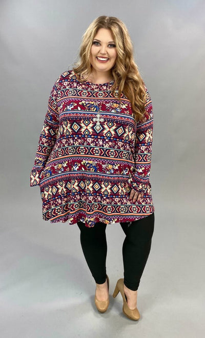 10-06 PLS-B {Saw It Coming} Burgundy Tribal Print Top EXTENDED PLUS SIZE 3X 4X 5X