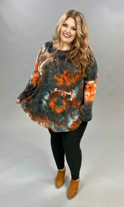 10-06 PLS-N {Always Remember} Navy Rust Tie Dye Tunic EXTENDED PLUS SIZE 3X 4X 5X