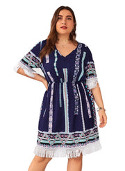 PSS-B {Fly Like An Eagle} Navy Aztec Print Dress with Fringe Extended Plus