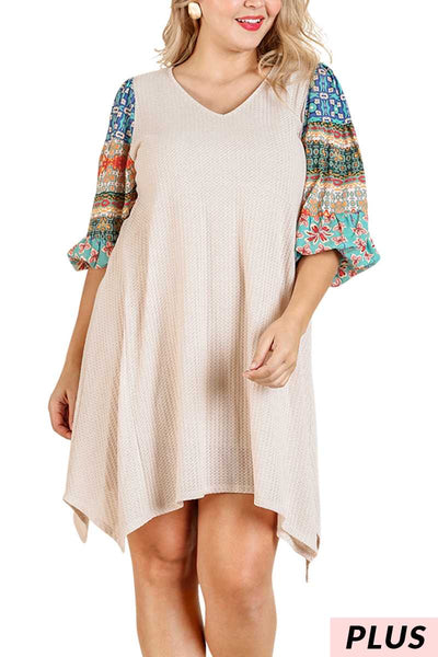 CP-M{You Go Girl} Umgee Beige Dress With Pattern Sleeve