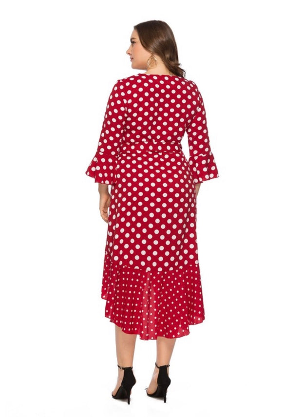 LD-D {Oh Happy Day} Red Polka-Dot Hi-Lo Dress with Belt EXTENDED PLUS SIZE 5X (FITS LIKE 3X) SALE!